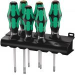 Wera 105622 Kraftform Plus 6 Piece Lasertip Screwdriver Set Pozi Slotted Philips