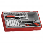 "Teng TT1435 1/4"" Drive Metric Socket Set in Tool Box Module Tray"