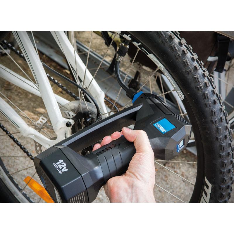 Draper 20582 12V Cordless Car Van Bike Tyre Digital Air Compressor Inflator
