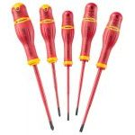 Facom AP.J5TVE 5 Piece PROTWIST VDE 1000v Insulated Slim Blade Slotted/Phillips Screwdriver Set