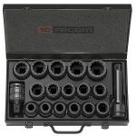 "Facom NKD.500 3/4"" Drive 16 Piece Bi-Hexagon (12-Point) Impact Socket Set 19-42mm"