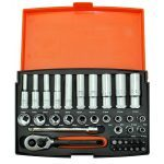 "Bahco SL25L 1/4"" Drive 37 Piece Metric Standard, Deep Socket and Bit Set 4 - 13mm"