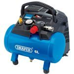 Draper 02115 6 Litre Oil Free Small Compact Portable Air Line Compressor 1.5HP