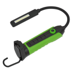 Sealey LEDFLEXG Flexi Rechargeable Green Inspection Lamp Li-ion 1 COB + 1 LED
