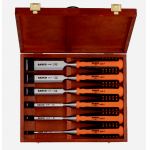 Bahco 424P-S8-EUR 8 Piece Rubberised Handle Chisel Set In Wooden Box 6-32mm